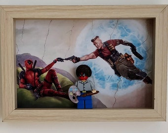 Deadpool Bob Ross, Fan Art Mini Figure Frame