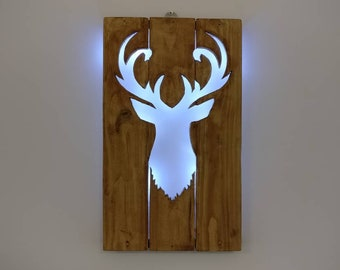 Deer Silhouette - Recycled Wood / LED lights / Home Decor