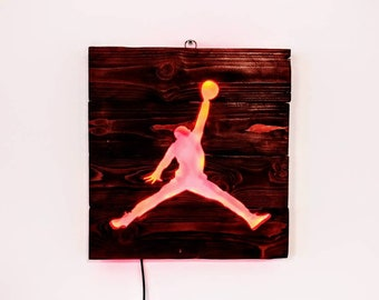 Air Jordan, Basketball Silhouette - Recycled Wood / LED lights / Home Decor
