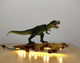 Dinosaur Surfing Driftwood LED Light