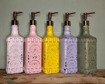 Upcycled Rustic Distressed Olmeca Tequila Bottle Soap Pump Dispenser