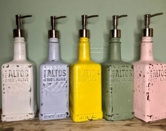 Upcycled Rustic Distressed Olmeca Altos Tequila Soap Pump Dispenser