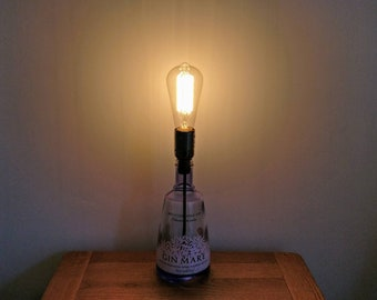 Upcycled Gin Mare Bottle Table Lamp