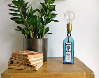 Upcycled Bombay Sapphire Gin Bottle Table Lamp
