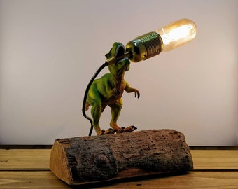 Tyrannosaurus Rex Dinosaur Toy Lamp on Reclaimed Drift Wood