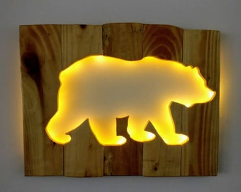 Polar Bear Silhouette - Recycled Wood / LED lights / Home Decor