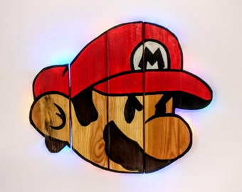 Super Mario Bros. Mario Wooden Wall Art Hanging - Birthday, Christmas Gift/Present