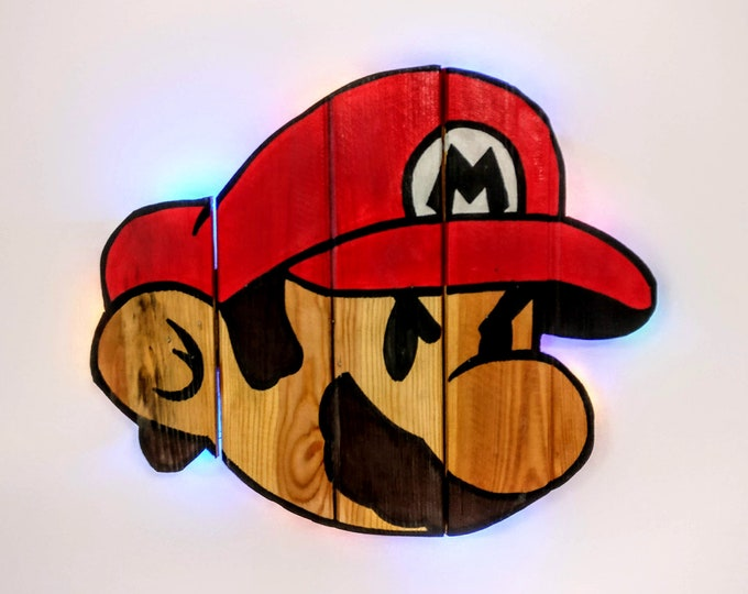 Featured listing image: Super Mario Bros. Mario Wooden Wall Art Hanging - Birthday, Christmas Gift/Present