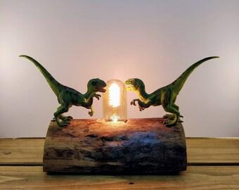 Velociraptor Dinosaur Toy, Reclaimed wooden log Lamp