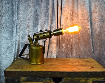 Upcycled Gas Burner Table Lamp, Statement Piece