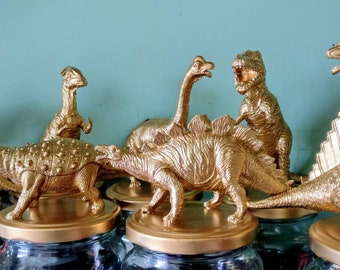 Upcycled Metallic Large Gold Dinosaur Jars