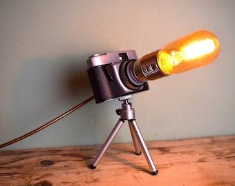 Upcycled Vintage Camera Desk Lamp on Tripod