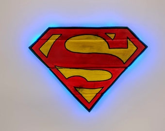 SuperMan/SuperGirl Wooden Wall Art Hanging/Night Light - Birthday, Christmas Gift/Present