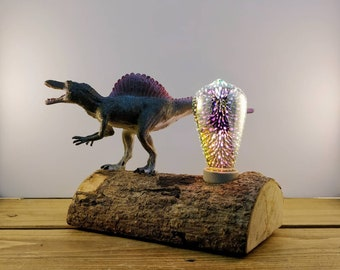 Spinosaurus Dinosaur Toy, Reclaimed wooden log Lamp