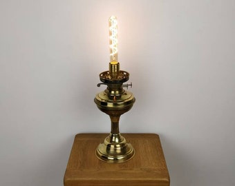 Upcycled Antique Oil Table Lamp, Statement Piece