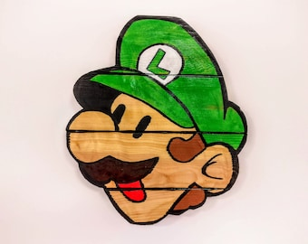 Super Mario Bros. Luigi Wooden Wall Art Hanging - Birthday, Christmas Gift/Present