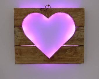 Heart Silhouette - Recycled Wood / LED lights / Home Decor
