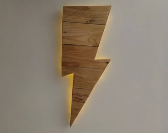 Lightning Bolt LED Light - Wooden Wall Art Hanging - Birthday, Christmas Gift/Present