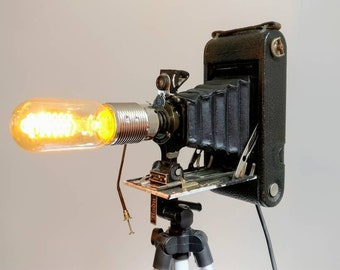 Vintage Bellows Kodak Camera Lamp with Tripod