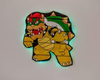 Super Mario Bros. Bowser Wooden Wall Art Hanging - Birthday, Christmas Gift/Present