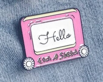 Etch A Sketch name badge Pin/Badge