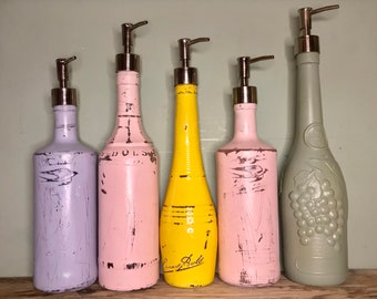 Upcycled Rustic Distressed Pastel Bottle Soap Pump Dispensers