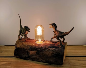 Velociraptor Dinosaur Toy, Reclaimed wooden log Lamp