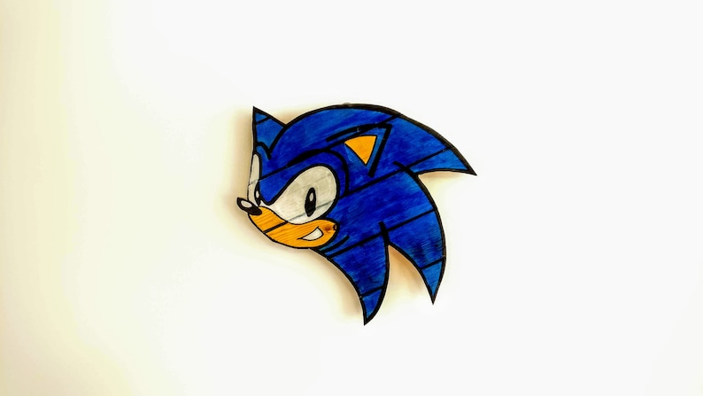 Sonic The Hedgehog Wooden Wall Art Hanging Birthday Etsy