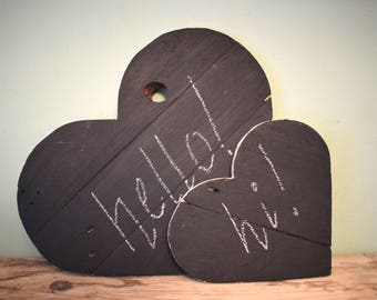 Rustic Decorative Chalkboard Hearts (Set of two) - Wedding Gift