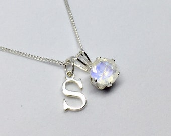 Personalised moonstone necklace, 925 sterling silver rainbow moonstone pendant, june birthstone necklace, initial charm necklace