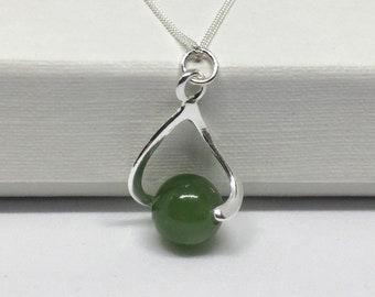 Jade pendant etsy jade necklace 925 sterling silver jade pendant natural jade jewellery silver jade pendant jade jewelry dainty silver necklace aloadofball Images