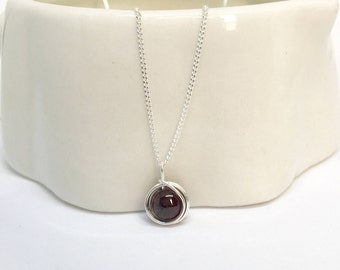 Garnet necklace, 925 sterling silver garnet pendant, silver garnet necklace, silver garnet pendant, garnet jewellery, January birthstone