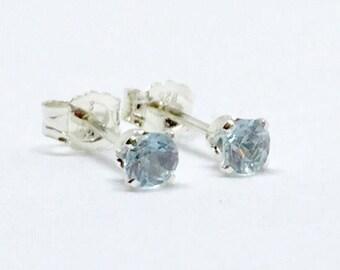 Aquamarine stud earrings, silver aquamarine earrings, march birthstone earrings, natural aquamarine stud earrings, dainty studs, silver