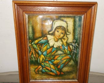 Vintage French Lovely Relief Picture of a Girl Clown, Jester very colourful, velvet back, hook, reliefed domed front