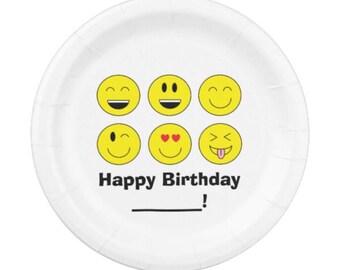 Custom Happy Birthday Emoji Party Paper Plates (pack of 8)