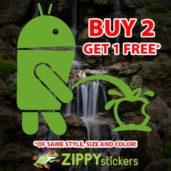 Android Weeing on Apple Funny logo Vinyl Sticker Decals 13  colors Available