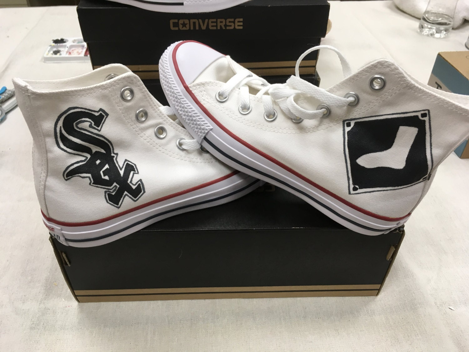 e232a31c5be Chicago White Sox hand painted Converse