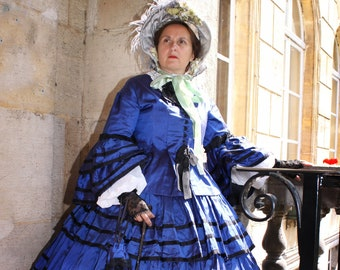 99d86ca68e5 robe second empire 1855-1865 A LA COMMANDE robe victorienne robe crinoline civil  war dress victorian dress 1860s dress