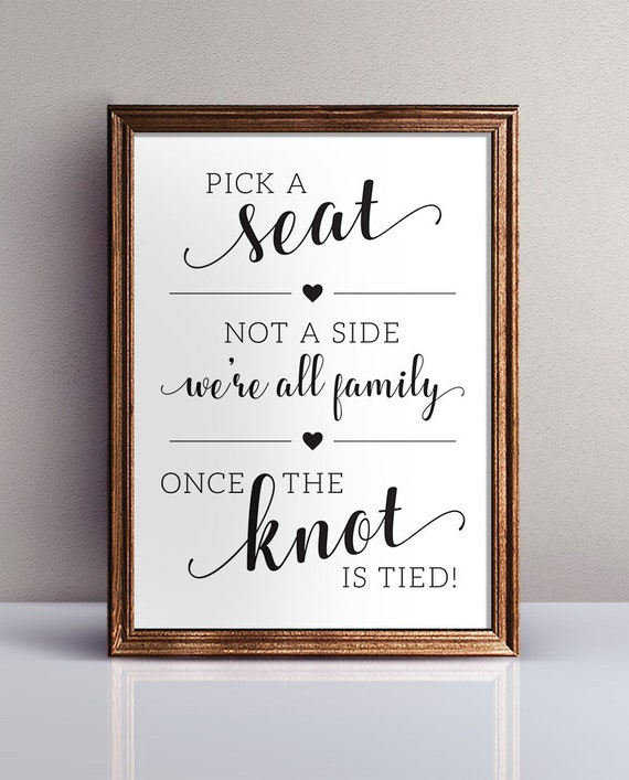 Poster Red Choose Seat Not Side All Family Knot Tied Personalised Wedding Sign