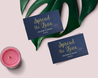 Spread the Love Printable Favor Tag, Gift Tag Template, Starry Night Editable Tag, Navy and Gold Spread the Love Tag, INSTANT DOWNLOAD PDF