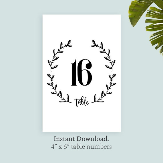printable table number template wreath table number template etsy