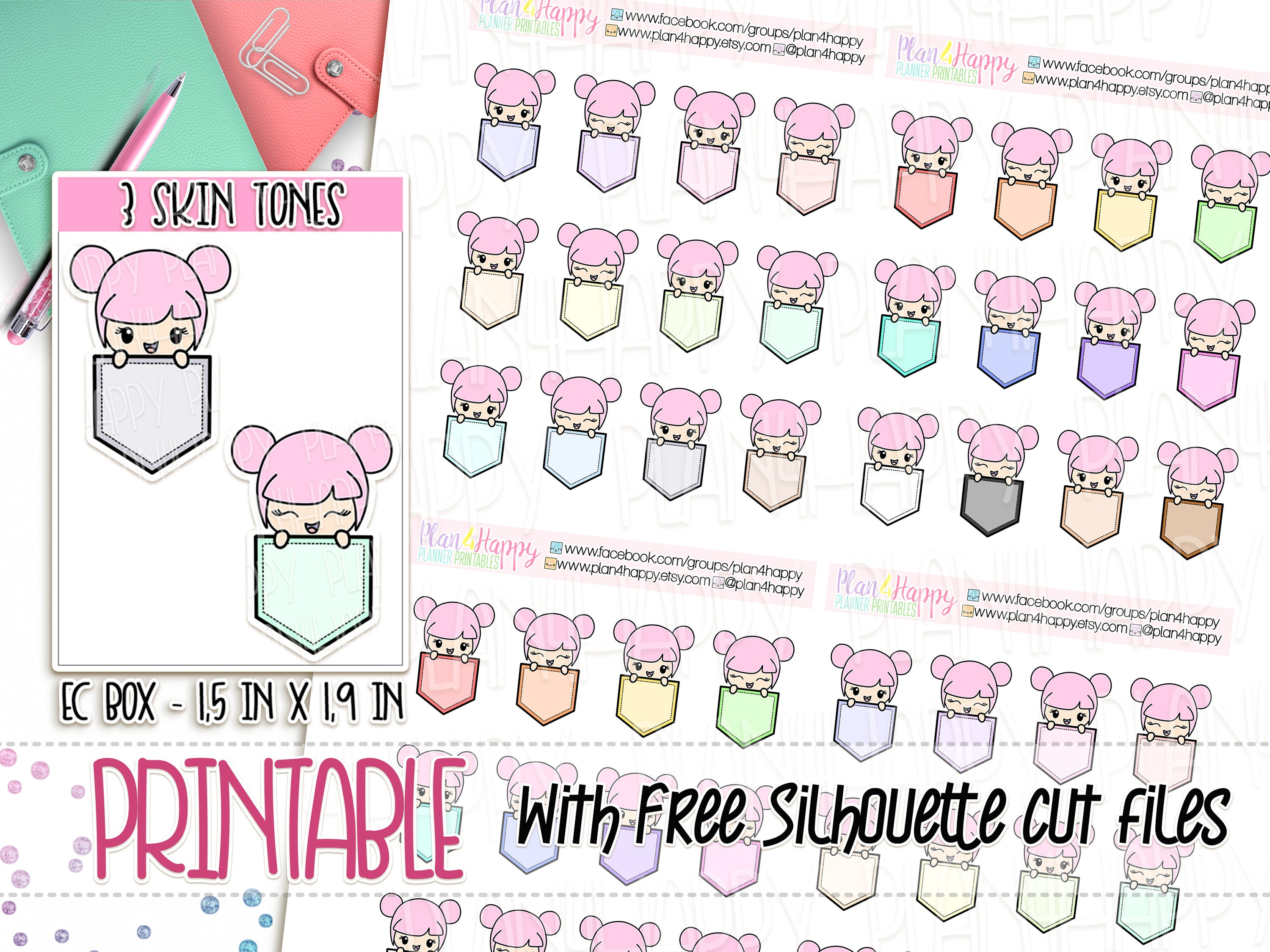 photograph relating to Printable Sticker Sheets referred to as Printable Planner Stickers, Rosie - 3 Pores and skin Tones, Peekaboo Flag Stickers - Tiny, Lovable Stickers, Printable Sticker Sheets, Doodle Stickers