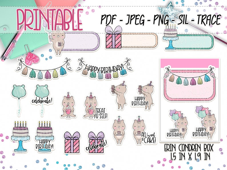 picture about Cute Printable Stickers known as Printable, Birthday Bears Stickers, Printable Planner Stickers, Lovable Printable Stickers, Perform Out Stickers