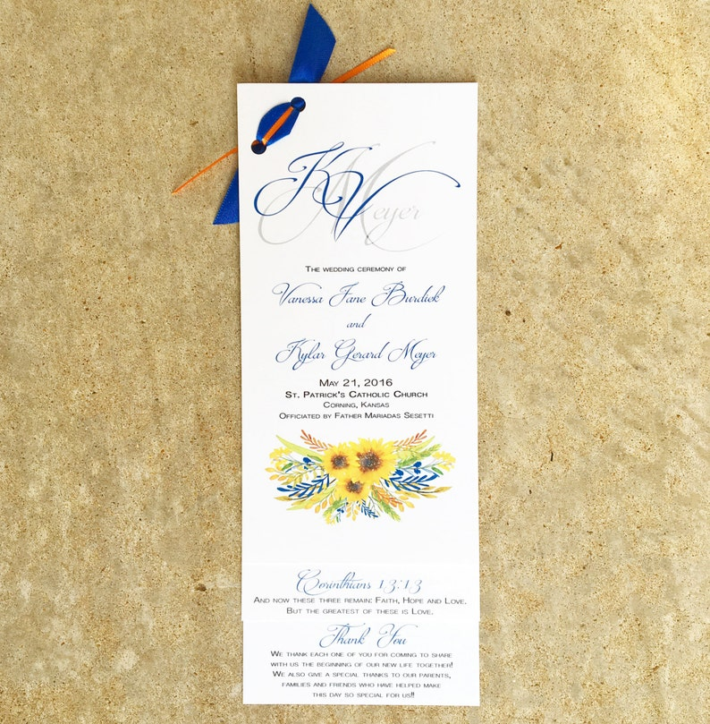 Sunflower Wedding Programs image 0