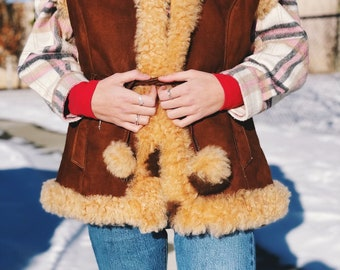 Boho Vest Hippie Vest Gift For Her Women/'s Sheepskin Vest Women/'s Gift Real Brown Sheep Leather With High Collar Size S