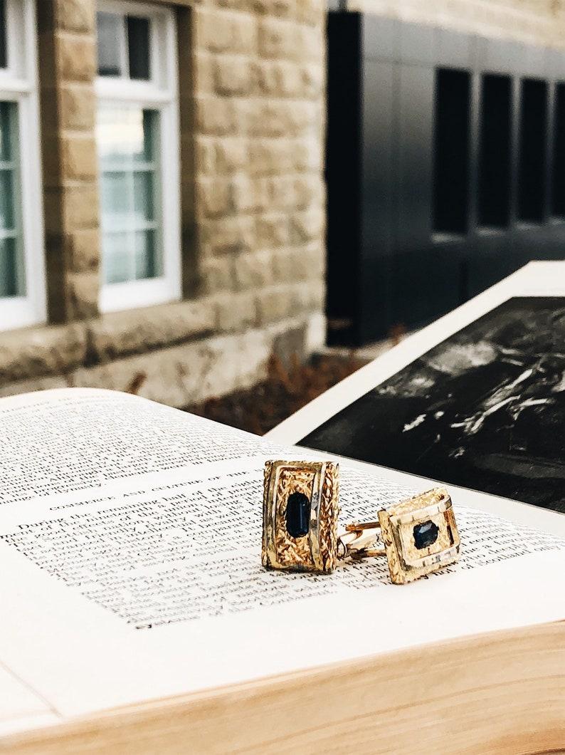 Brutalist Style Mid Century Cufflinks with Blue Stone