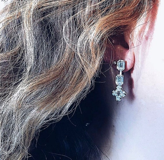 Vintage Rhinestone Crystal Dangle Drop Screw Back Earrings Victorian Revival Earrings Vintage Silver Tone Crystal Wedding Bridal Earrings