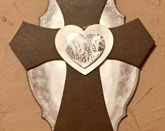 Cross and heart plaque