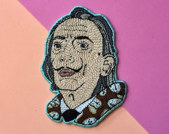 Salvador Dali hand embroidered patch