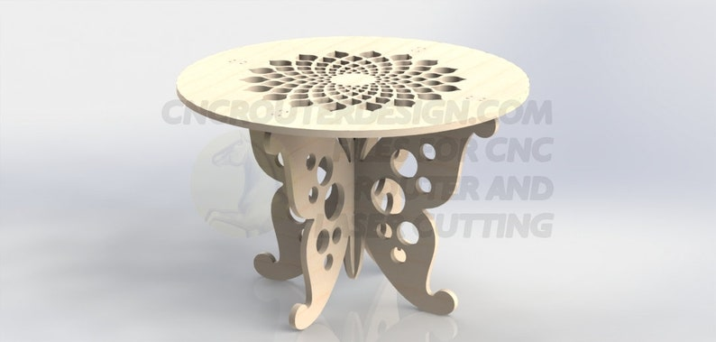 Design Template Butterfly Table For CNC Router or Laser Cutting Aspire  ArtCAM VCarve DXF File birch cedar cherry hickory maple oak pine